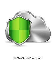 Cloud Technology Security - Computer cloud technology icon...