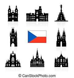 Prague, Czech Republic Travel Icon Vector and Illustration