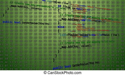Computer Code On Green Background. - Colored Computer Code...