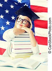 student in graduation cap - happy student in graduation cap...
