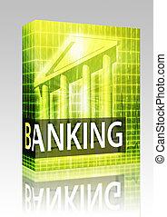 Scatola, bancario, illustrazione, pacchetto