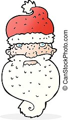 cartoon grim santa face
