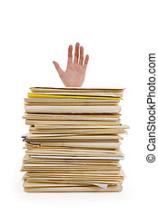 File Stack and hand with white background