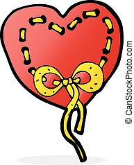 stitched heart cartoon
