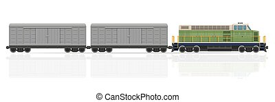 railway train with locomotive and wagons vector illustration