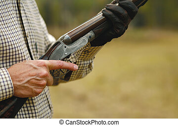 hombre, caza, escopeta
