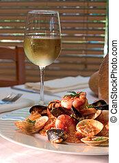 camarón, plato, vidrio, blanco, vino