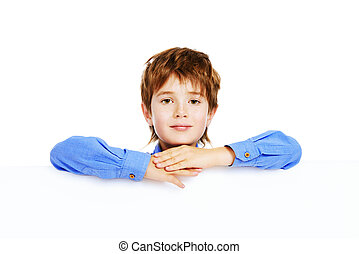 copy space - Portrait of a cute 7 year old boy standing with...