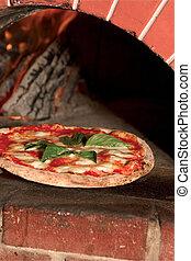 Un, pizza, fresco, afuera, Wood-fired, ladrillo, horno