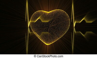 Gold Heart with Cardiogram - Pulsing Gold Heart and...