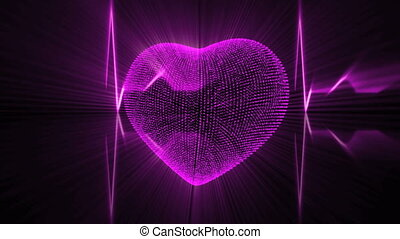 Pink Heart with Cardiogram - Pulsing Pink Heart and...