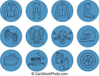 Vector set of motorcycle icons Motorcycle parts and clothes