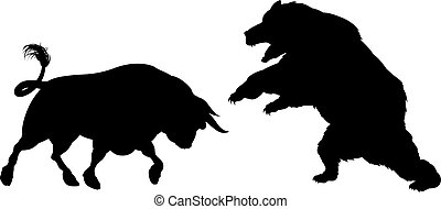 Bear Versus Bull Silhouette - A bear fighting a bull...