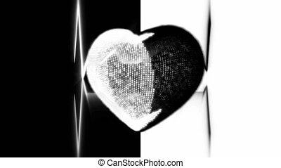 White and Black Heart Cardiogram - Pulsing White and Black...