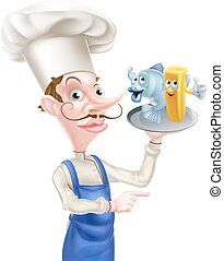 Cartoon Fish and Chips Chef Pointing - Seafood cartoon chef...