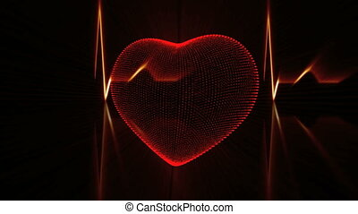 Red Heart with Cardiogram - Pulsing Red Heart and Heartbeat...