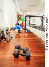 Training Weight Sport on Wooden Groung Floor