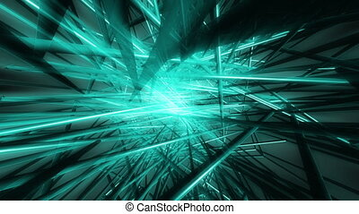 VJ blue green geometric abstract - Beams looping blue green...