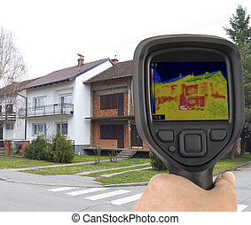 Facade Infrared Leak - Raw Brick Facade Wall Thermal Imaging