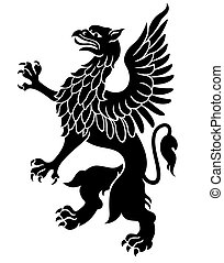 Heraldic griffin black isolated on white background