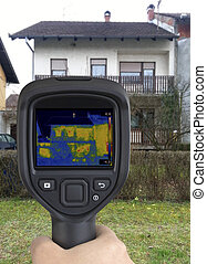 House Facade Infrared Image - House Facade Thermal Imaging...
