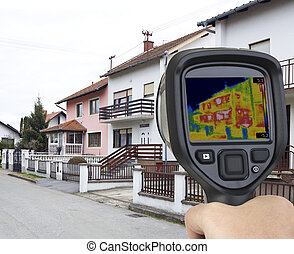 Infrared Camera - Thermal Image of House Facade