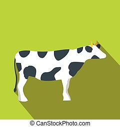 Spotted cow icon, flat style