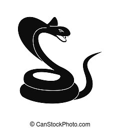 Green snake icon, simple style - Green snake icon in simple...