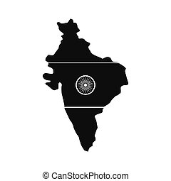 Map of India with the image of the national flag icon