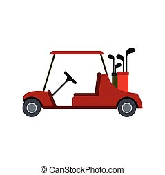 Red golf car icon in flat style isolated on white background
