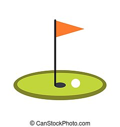 Golf flag icon in flat style isolated on white background