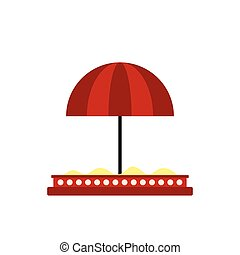 Children sandbox with red umbrella icon in flat style...