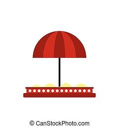 Children sandbox with red umbrella icon in flat style...