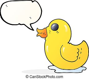 speech bubble cartoon rubber duck - freehand drawn speech...
