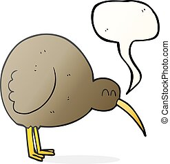 speech bubble cartoon kiwi bird - freehand drawn speech...