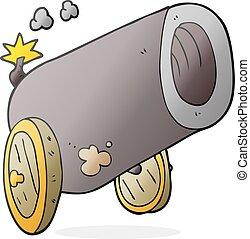 cartoon big cannon - freehand drawn cartoon big cannon