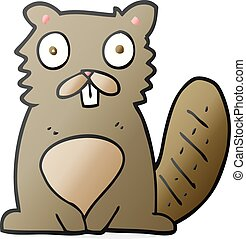 cartoon beaver - freehand drawn cartoon beaver