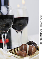 wine and chocolate - luxury and sweet praline and chocolate...