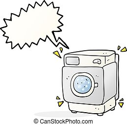 speech bubble cartoon rumbling washing machine - freehand...
