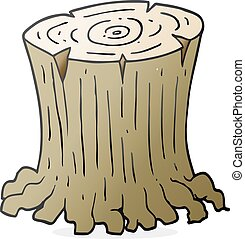 cartoon big tree stump - freehand drawn cartoon big tree...