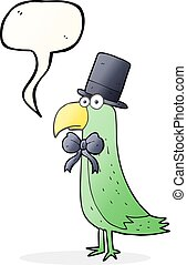 speech bubble cartoon posh parrot - freehand drawn speech...