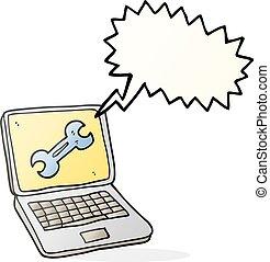speech bubble cartoon laptop computer with fix screen