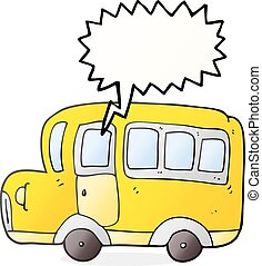 speech bubble cartoon yellow school bus - freehand drawn...