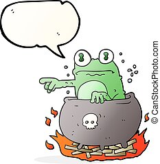 speech bubble cartoon halloween toad in cauldron - freehand...