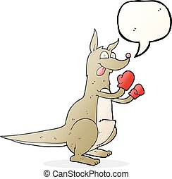 speech bubble cartoon boxing kangaroo - freehand drawn...