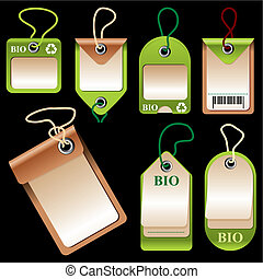 bio labels - set of vector images of labels and price tags