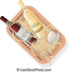Picnic basket with bottles of red and white wine and...