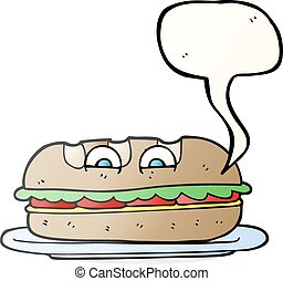 speech bubble cartoon sub sandwich - freehand drawn speech...