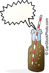 speech bubble cartoon fizzy drink bottle - freehand drawn...