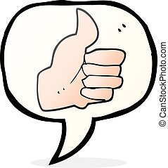 speech bubble cartoon thumbs up symbol - freehand drawn...
